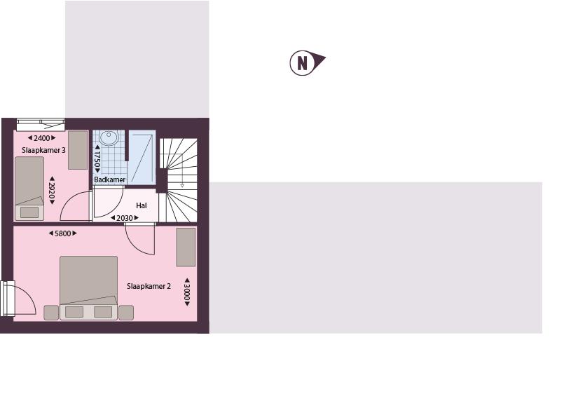 De Bongerd cadier en keer plattegrond type C2 verdieping